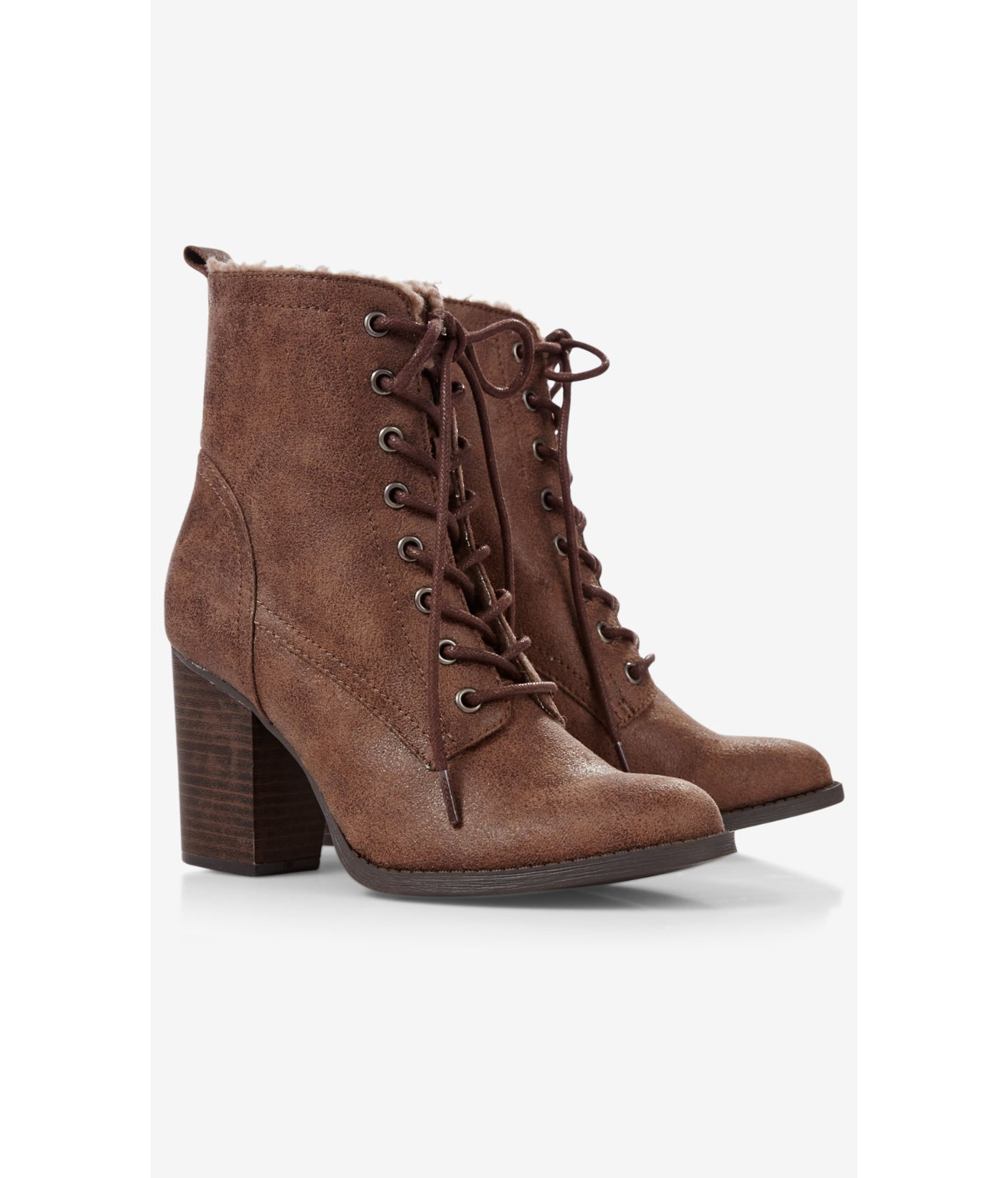 Express Lace Up Sherpa Lined Heeled Boot in Brown | Lyst