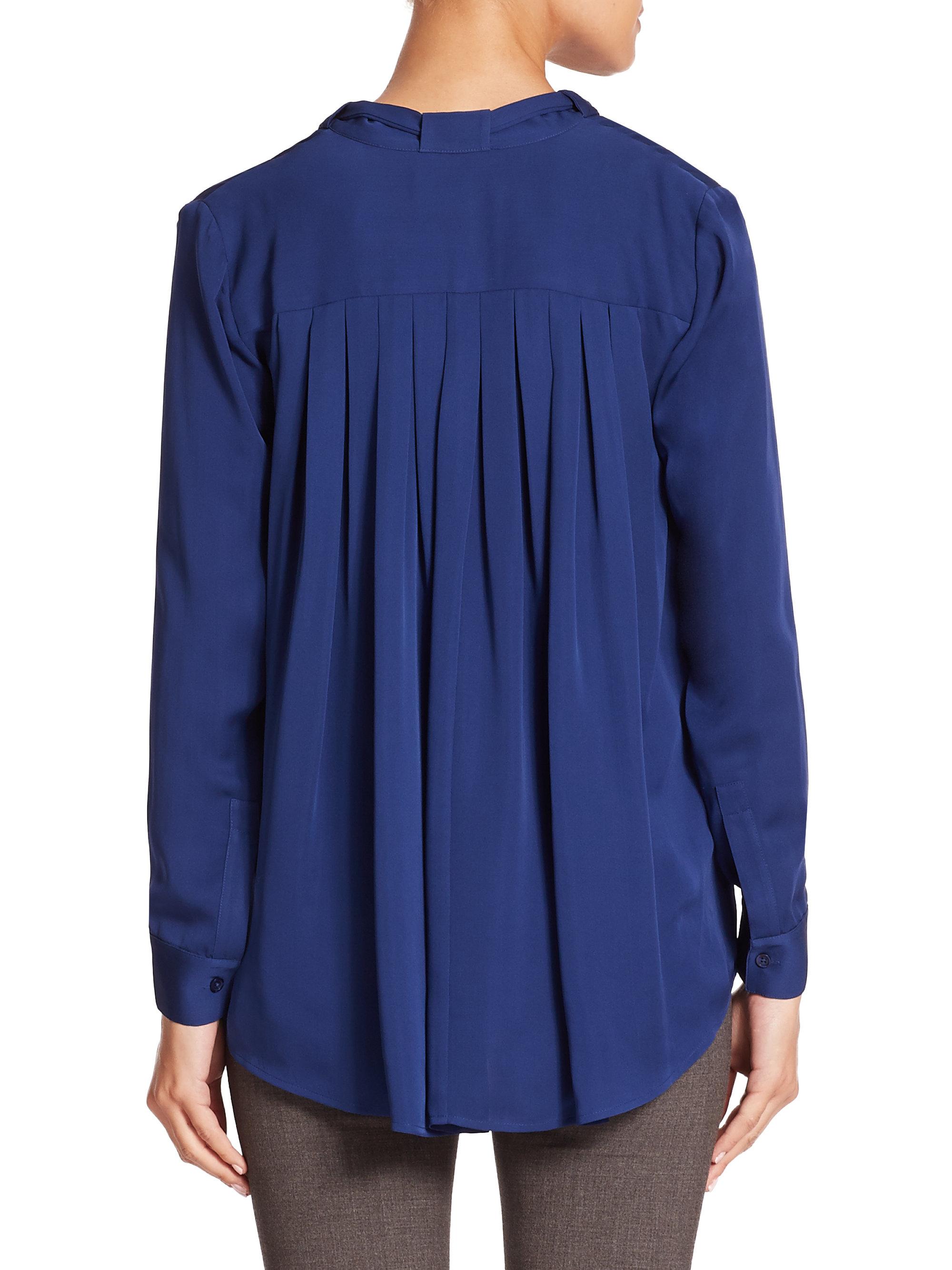 877124213835a Lyst - Michael Michael Kors Silk Tie-neck Blouse in Blue