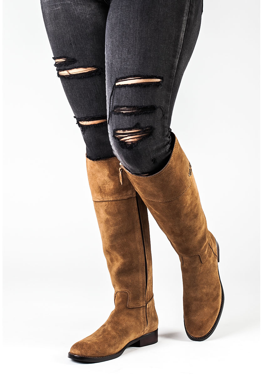 Tory burch Wembley Riding Boot Tobacco Suede in Brown | Lyst