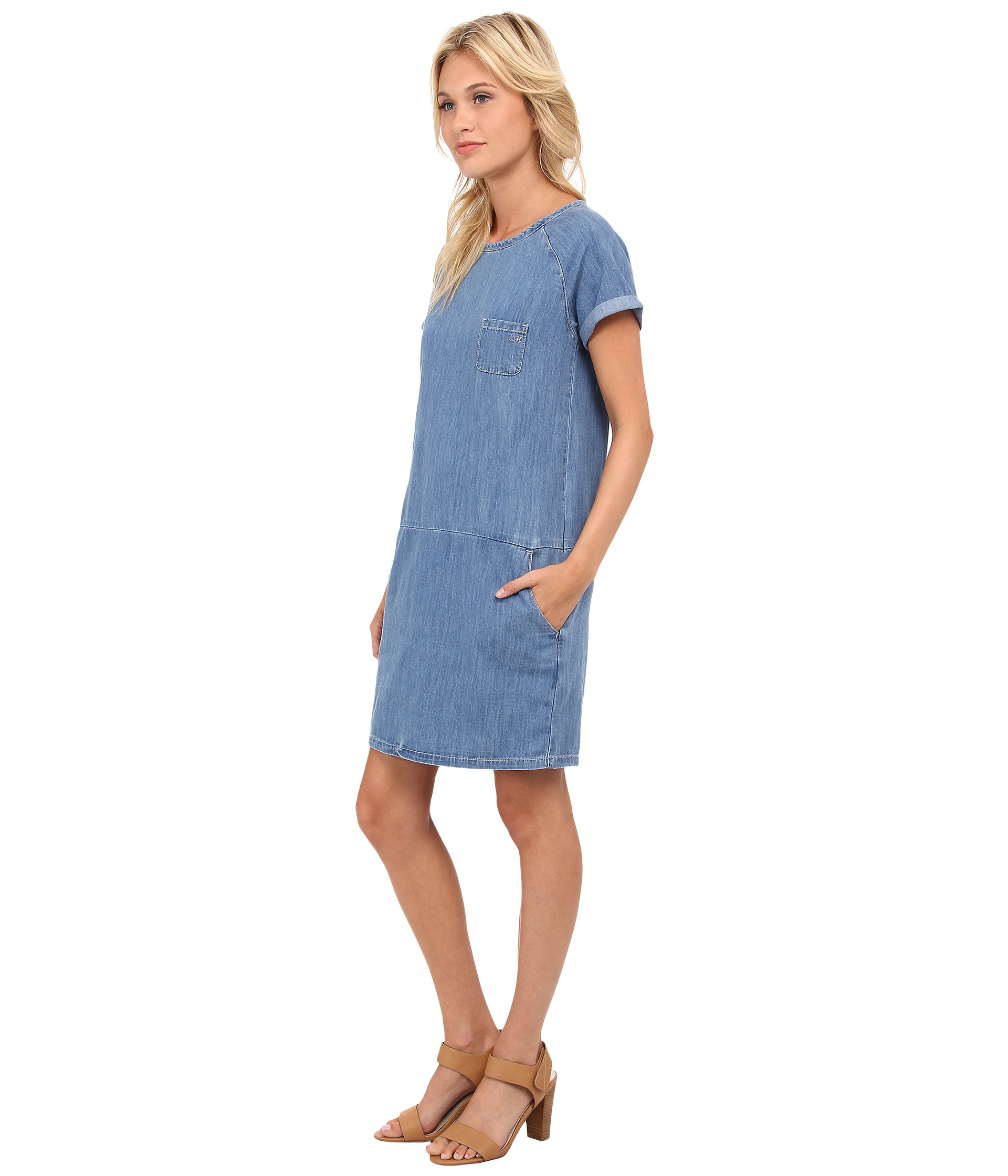 This is a pretty blue plaid,long, denim, modest ladies dress with short sleeves. Total length of dress is /2