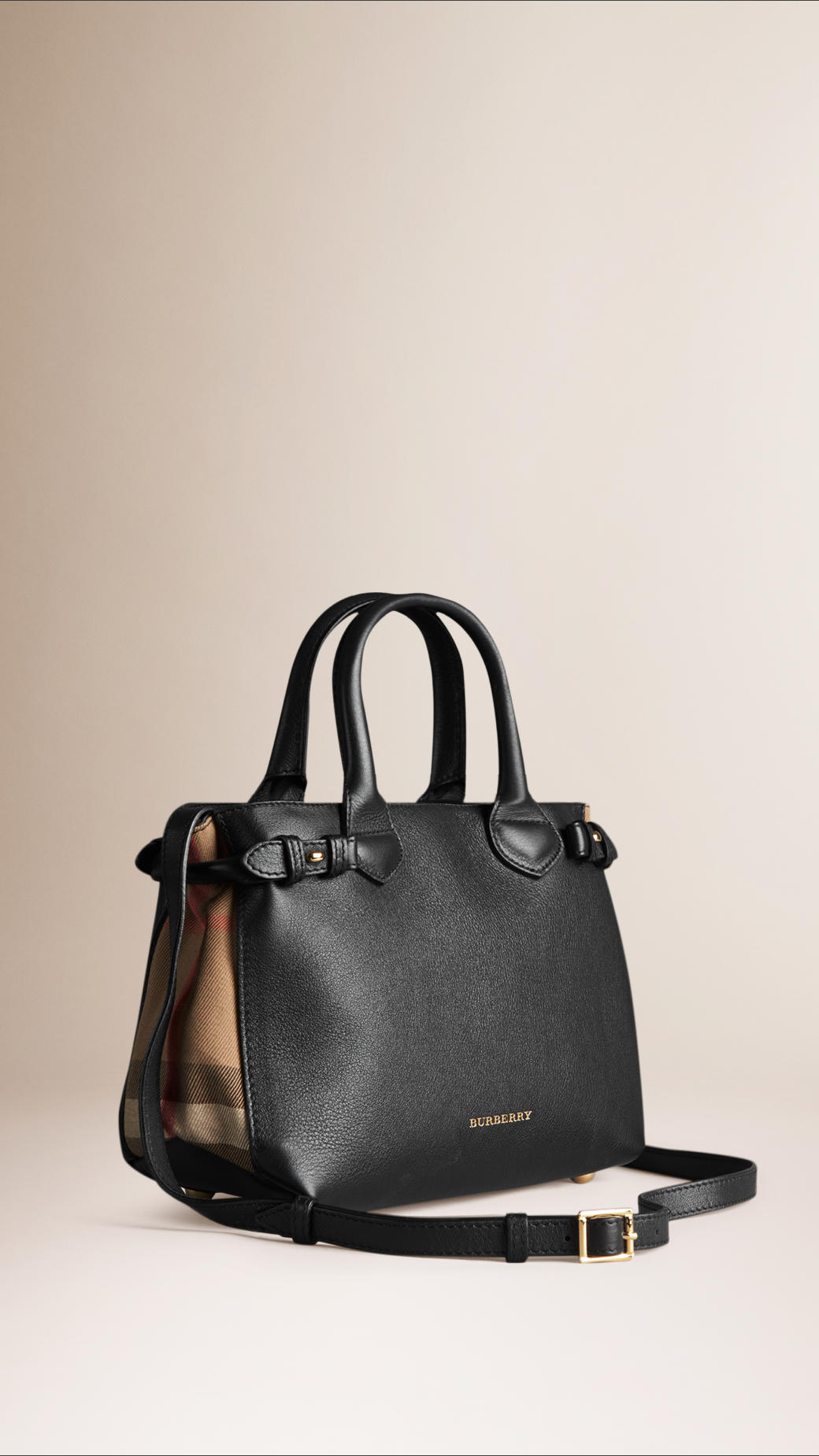 5d7bf30312e0 Burberry The Small Banner In Leather And House Check in Black - Lyst