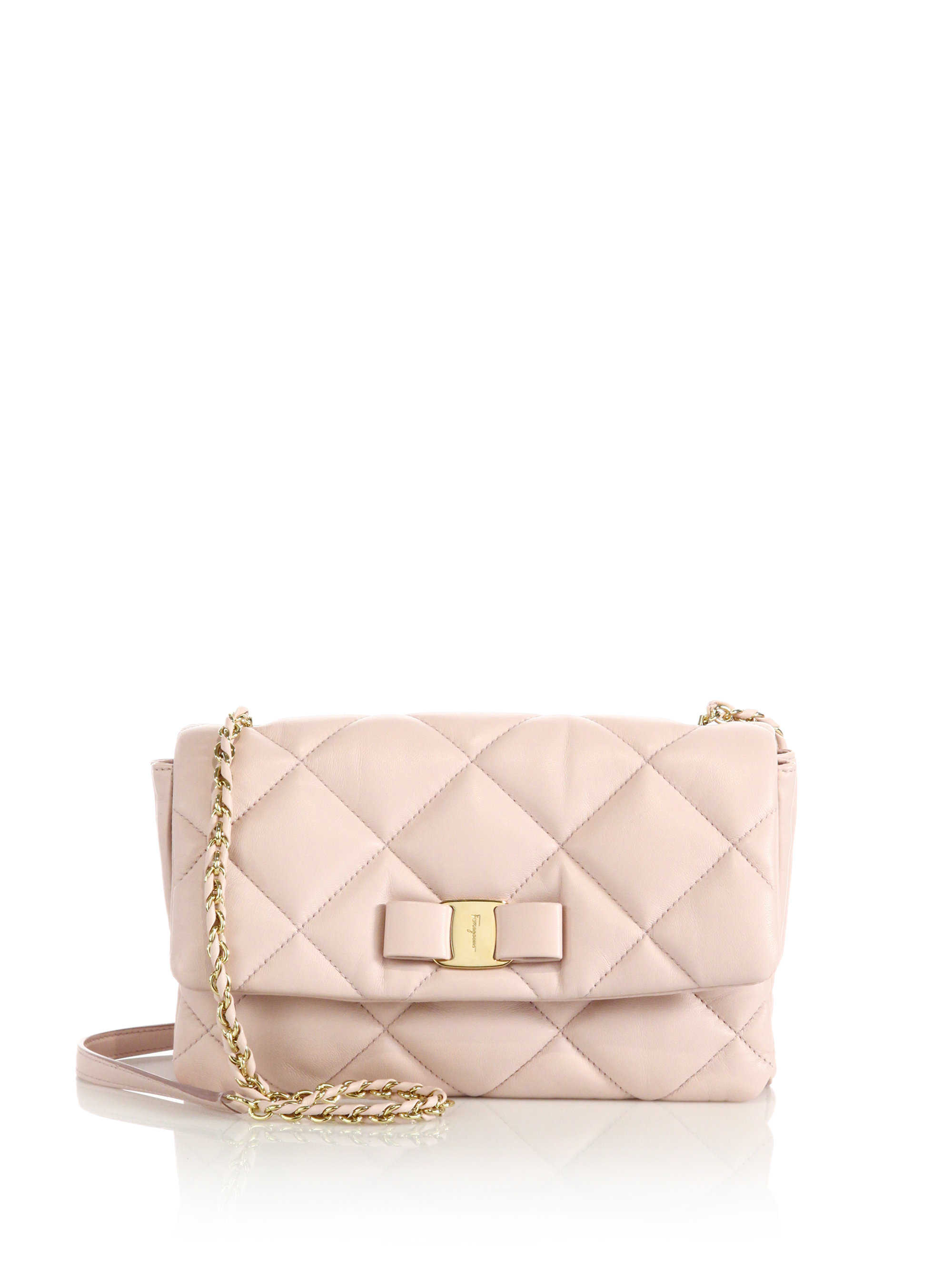 Ferragamo Gelly Quilted Nappa Leather Shoulder Bag in Natural | Lyst