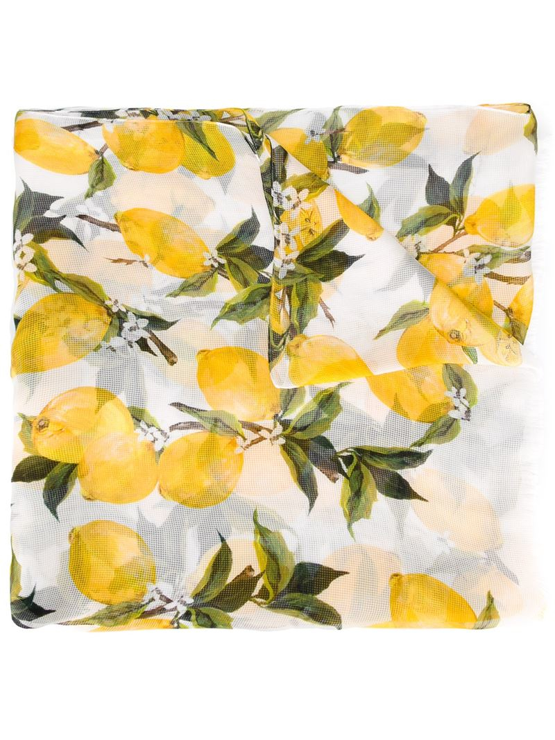 4daafb8d6e26 ... store lyst dolce gabbana lemon print mesh scarf in yellow aded8 5fdf7