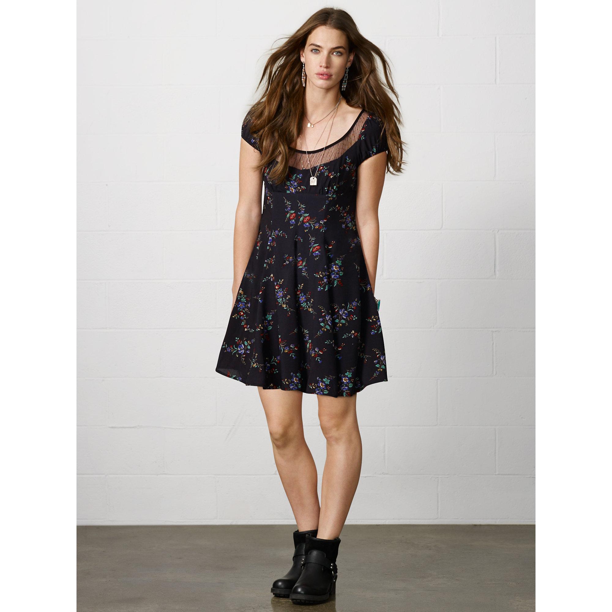 Lyst Denim & Supply Ralph Lauren Floral Babydoll Dress in Black