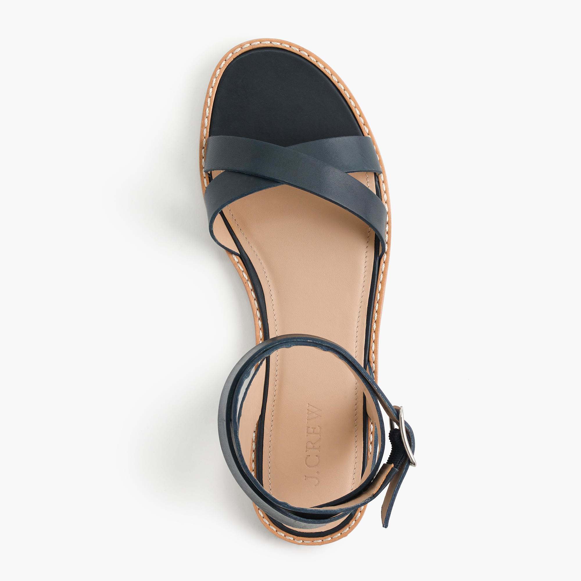 J Crew Double Wrap Leather Sandals In Blue Lyst