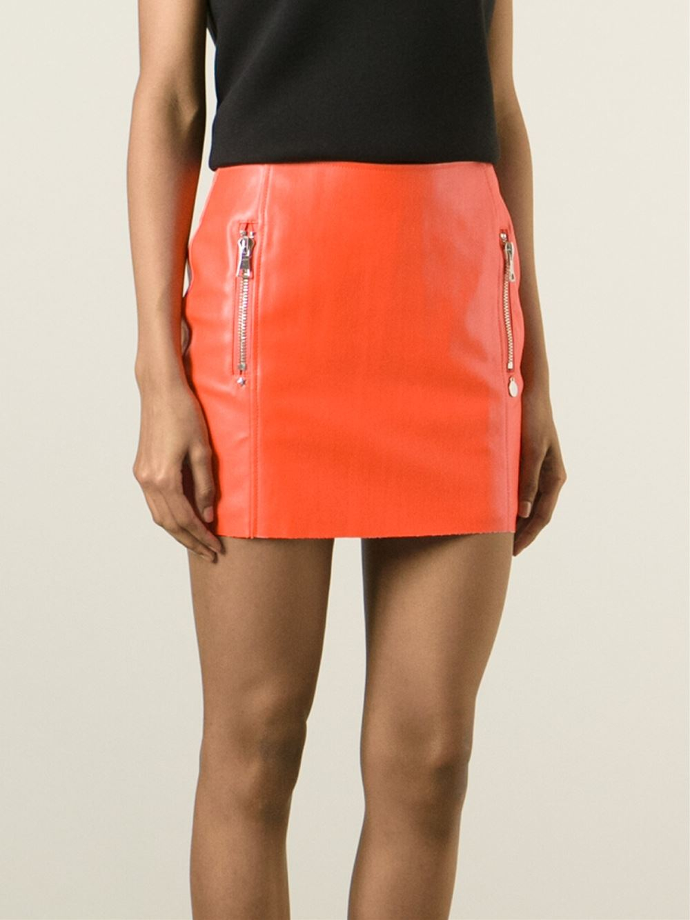 Urbancode Faux Leather Skirt in Orange | Lyst