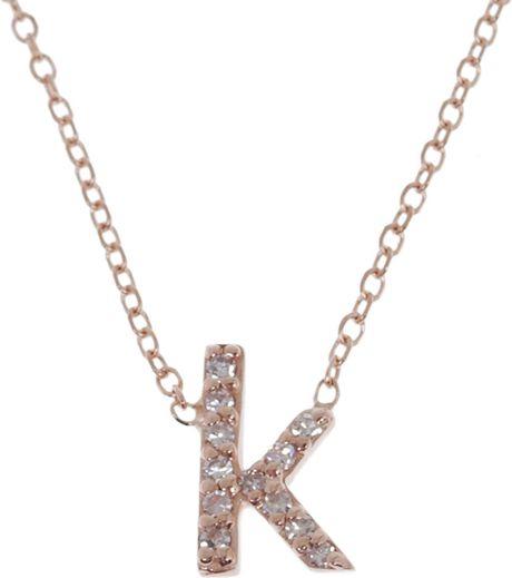 kc designs rose gold diamond letter k necklace in gold With letter k necklace rose gold