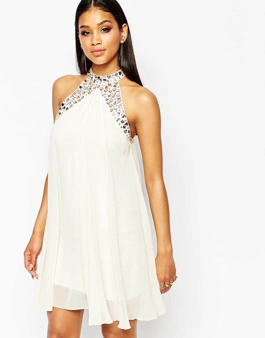 Lyst Lipsy Embellished High Neck Babydoll Swing Dress In