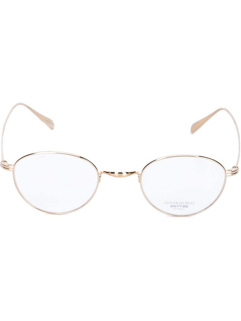Lyst - Oliver Peoples Round Frame Optical Glasses in Metallic