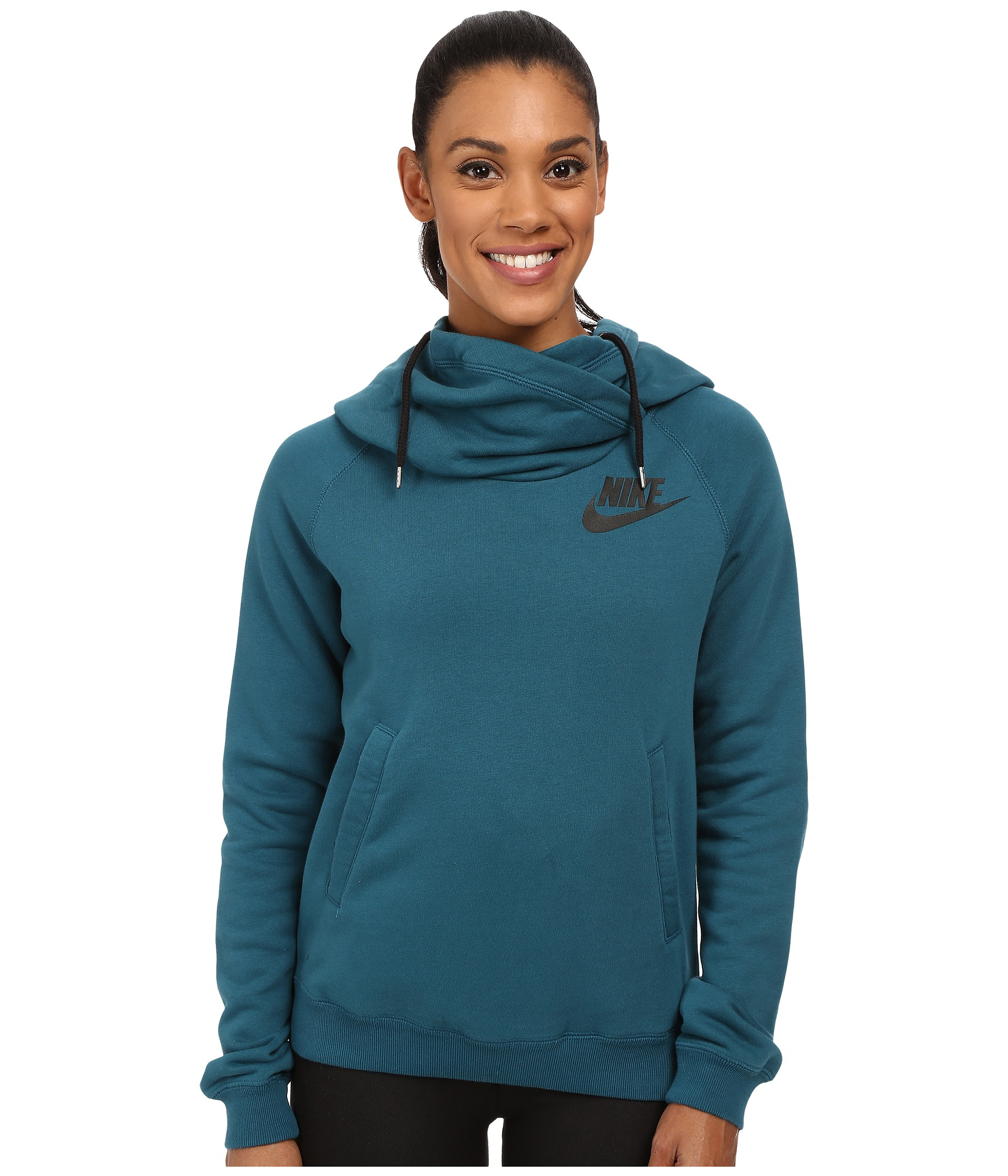Lyst - Nike Rally Funnel Neck Hoodie in Blue c11f696d9