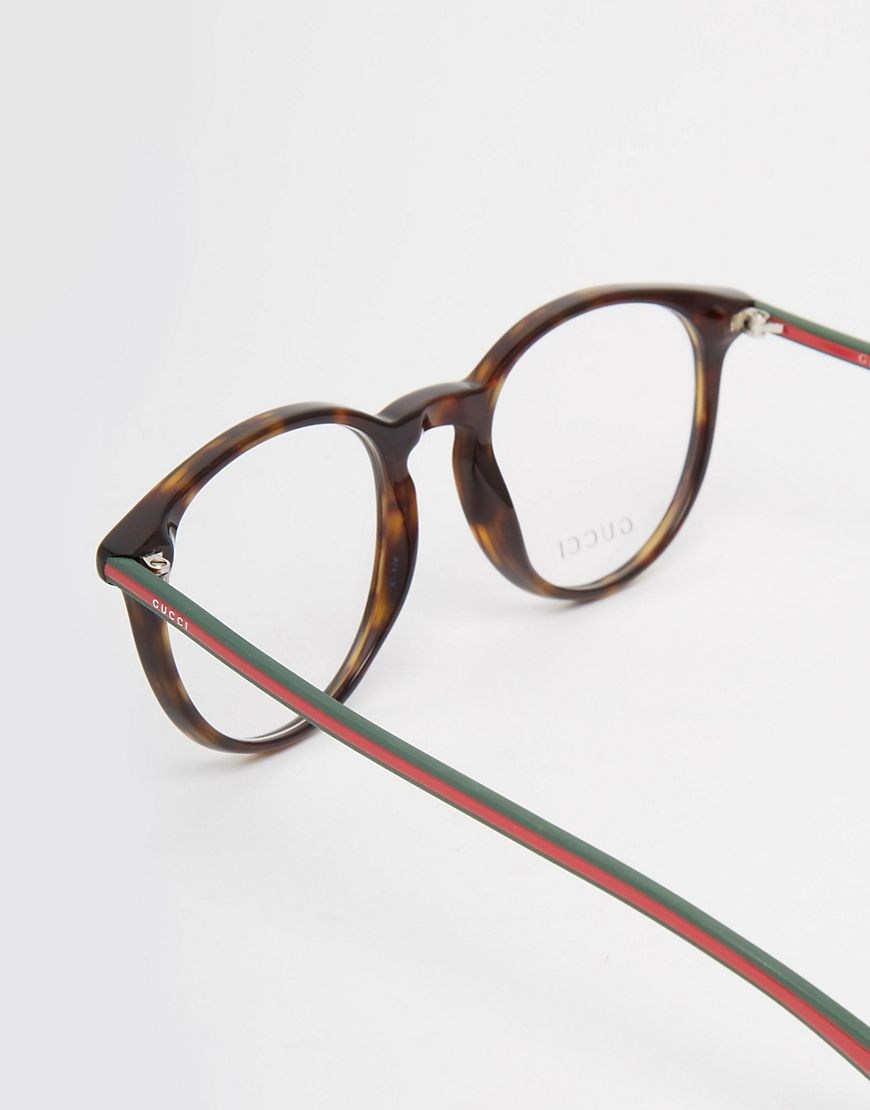 1ee1a8ea8e1 Lyst - Gucci Round Clear Lens Glasses In Tort in Brown for Men