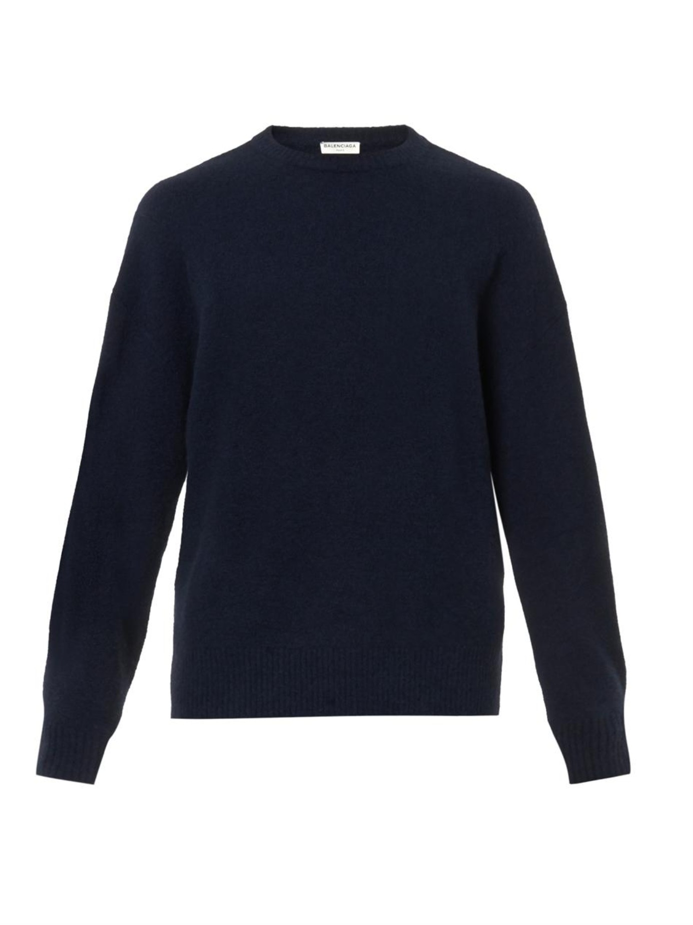 Balenciaga Oversized Navy Wool-Blend Sweater in Black for Men | Lyst