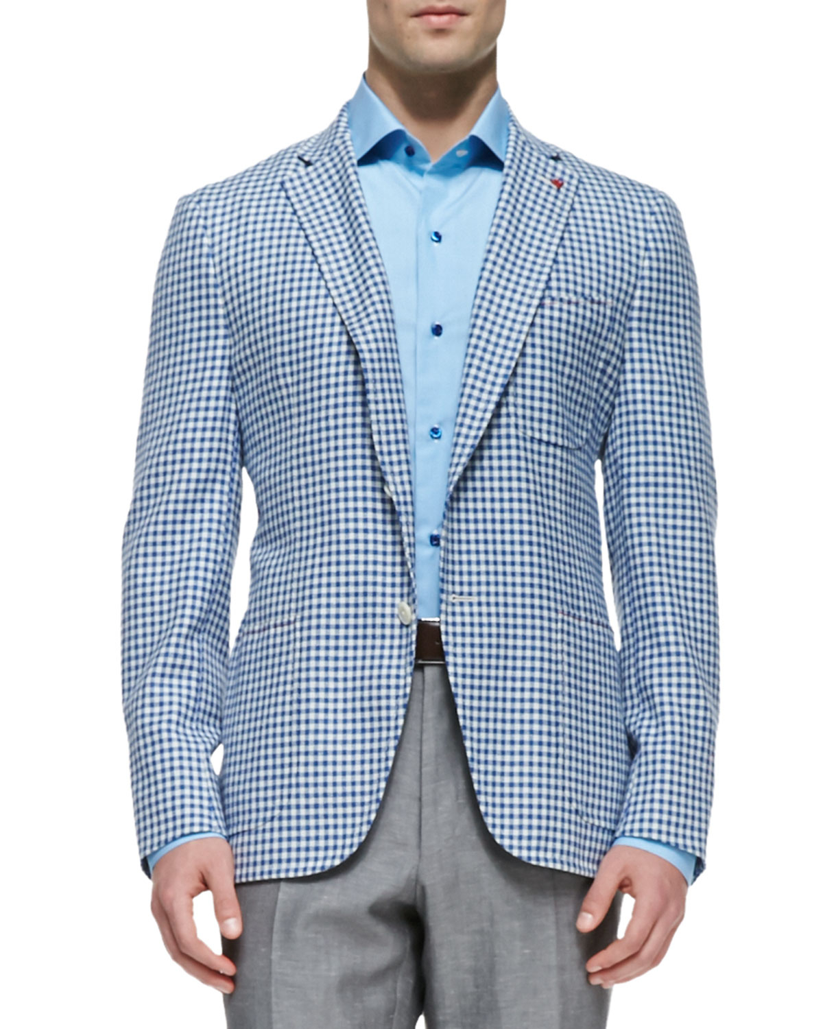 Isaia Gingham Check Blazer In Blue For Men Lyst
