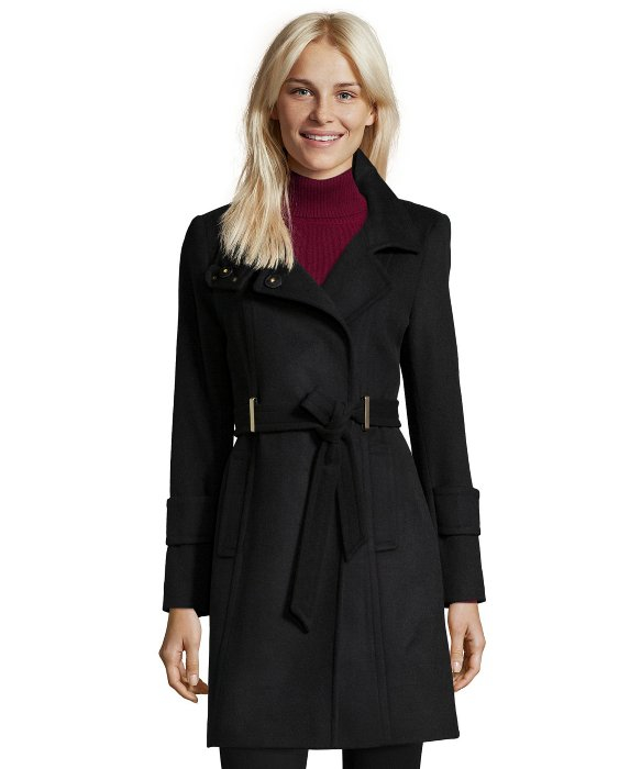T tahari Black Wool Blend 'india' Belted Coat in Black | Lyst