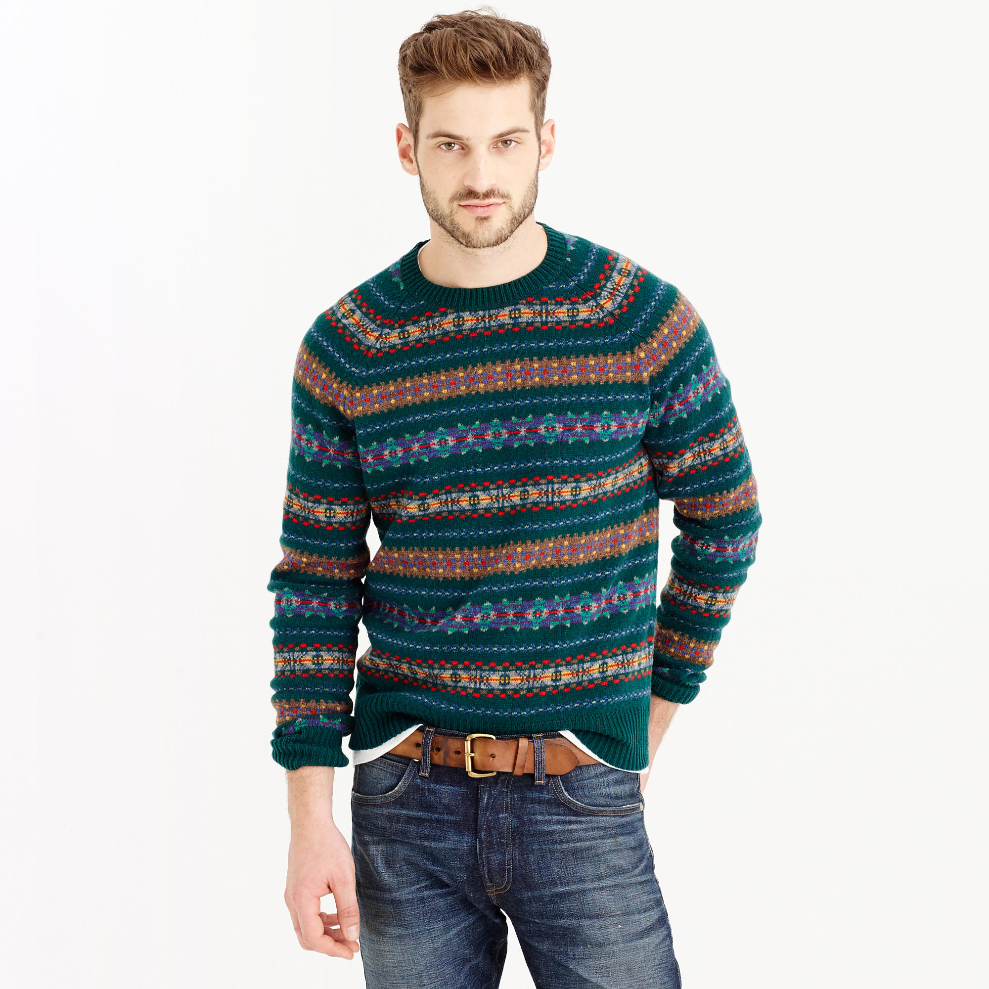 lambswool fair isle sweater in forest for men lyst. Black Bedroom Furniture Sets. Home Design Ideas
