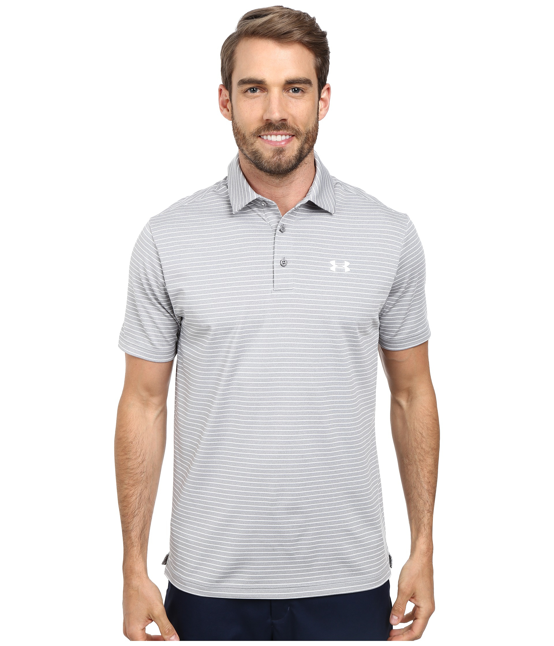 Under armour ua playoff polo in white for men lyst for Under armour shirts at walmart