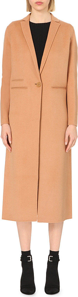 Maje Galaxie Wool-blend Coat in Natural | Lyst