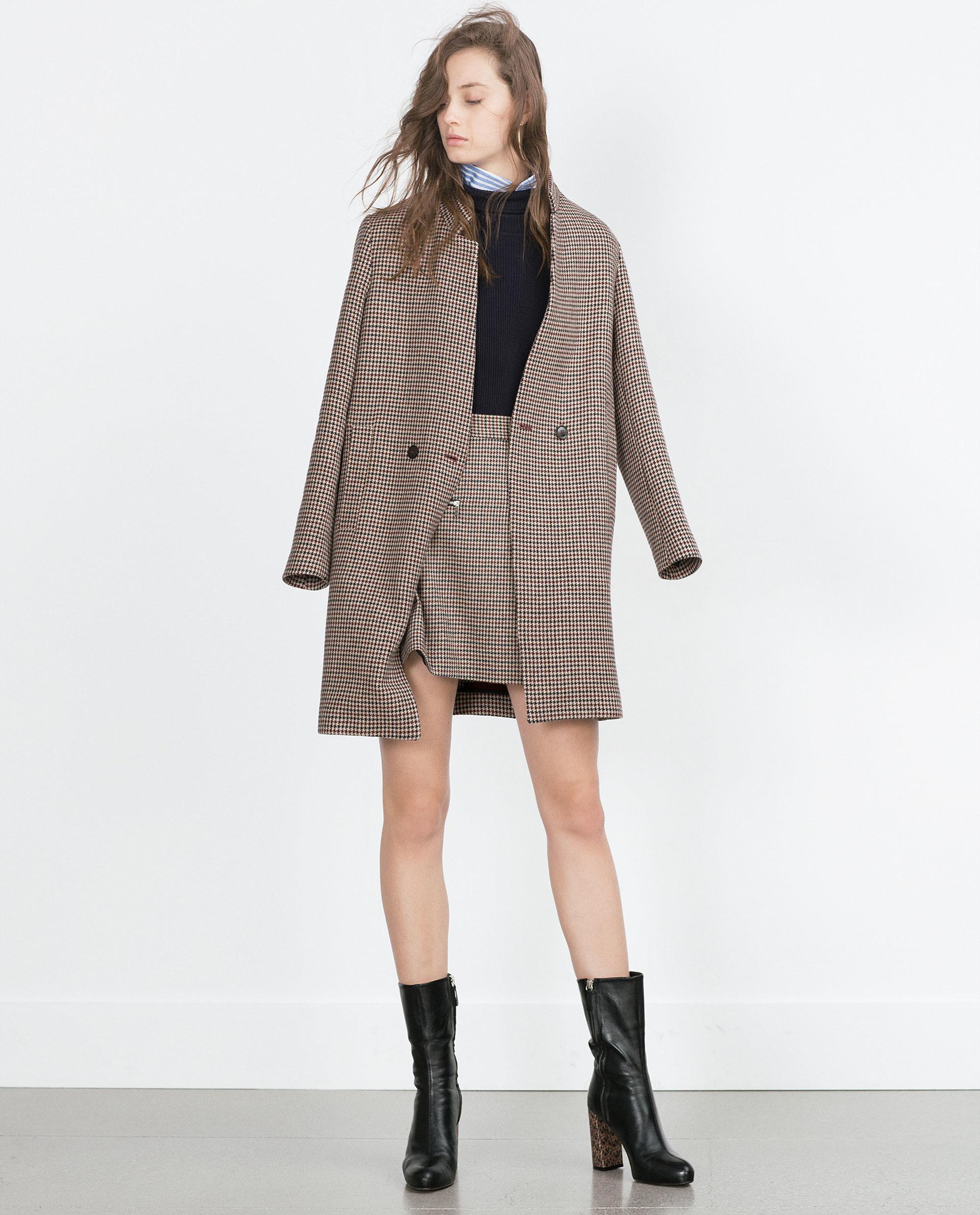 Zara Check Mini Skirt With Zips in Purple | Lyst