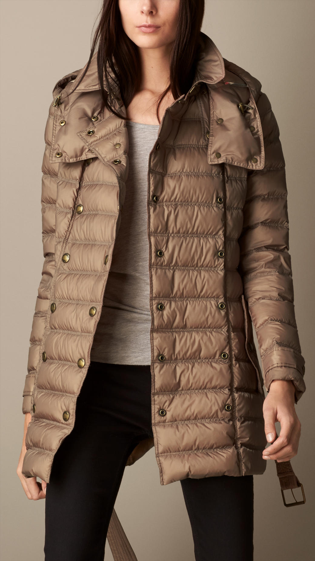 Burberry Downfilled Puffer Jacket In Brown Lyst
