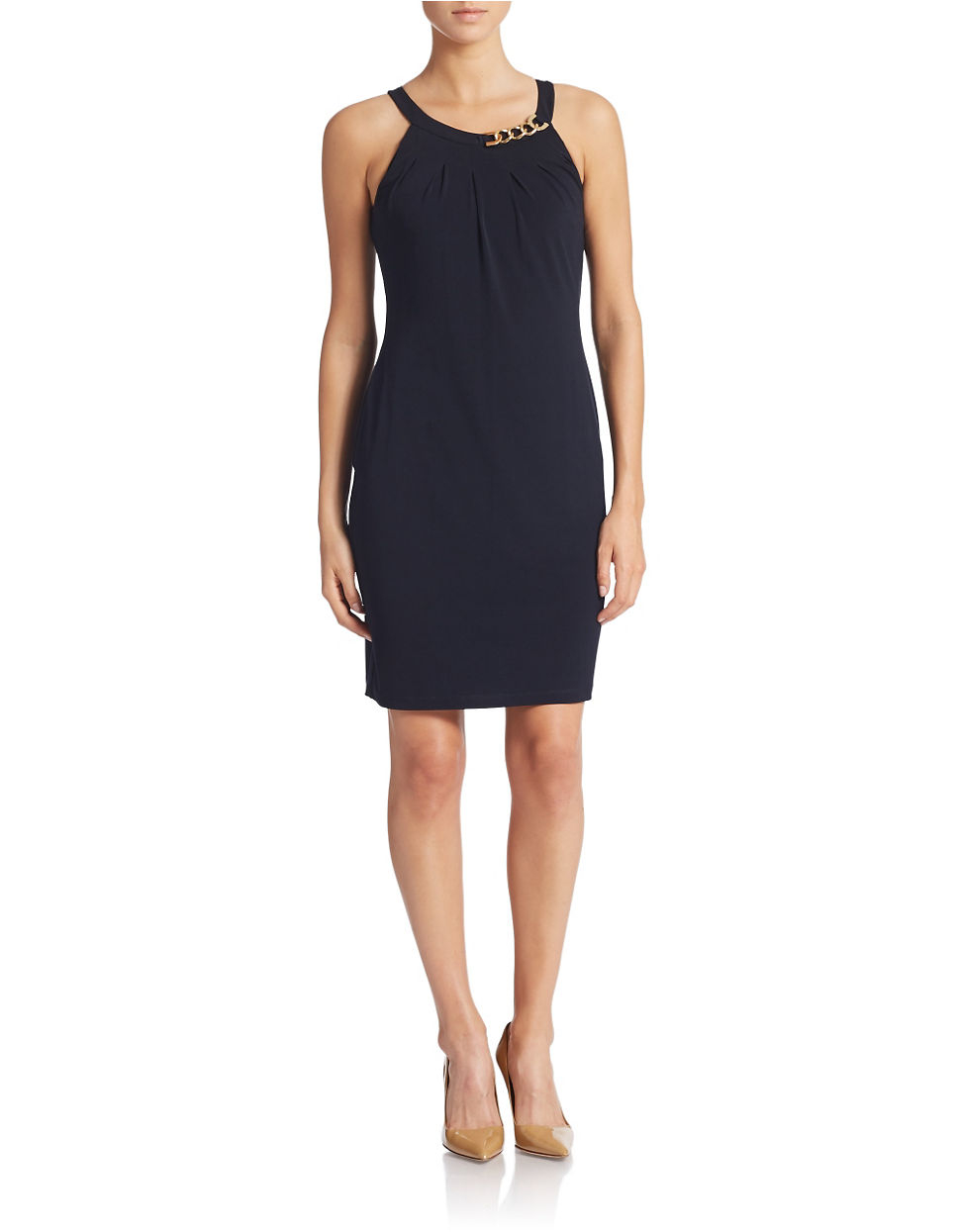 Ivanka trump Chain Hardware Halter Dress in Blue | Lyst