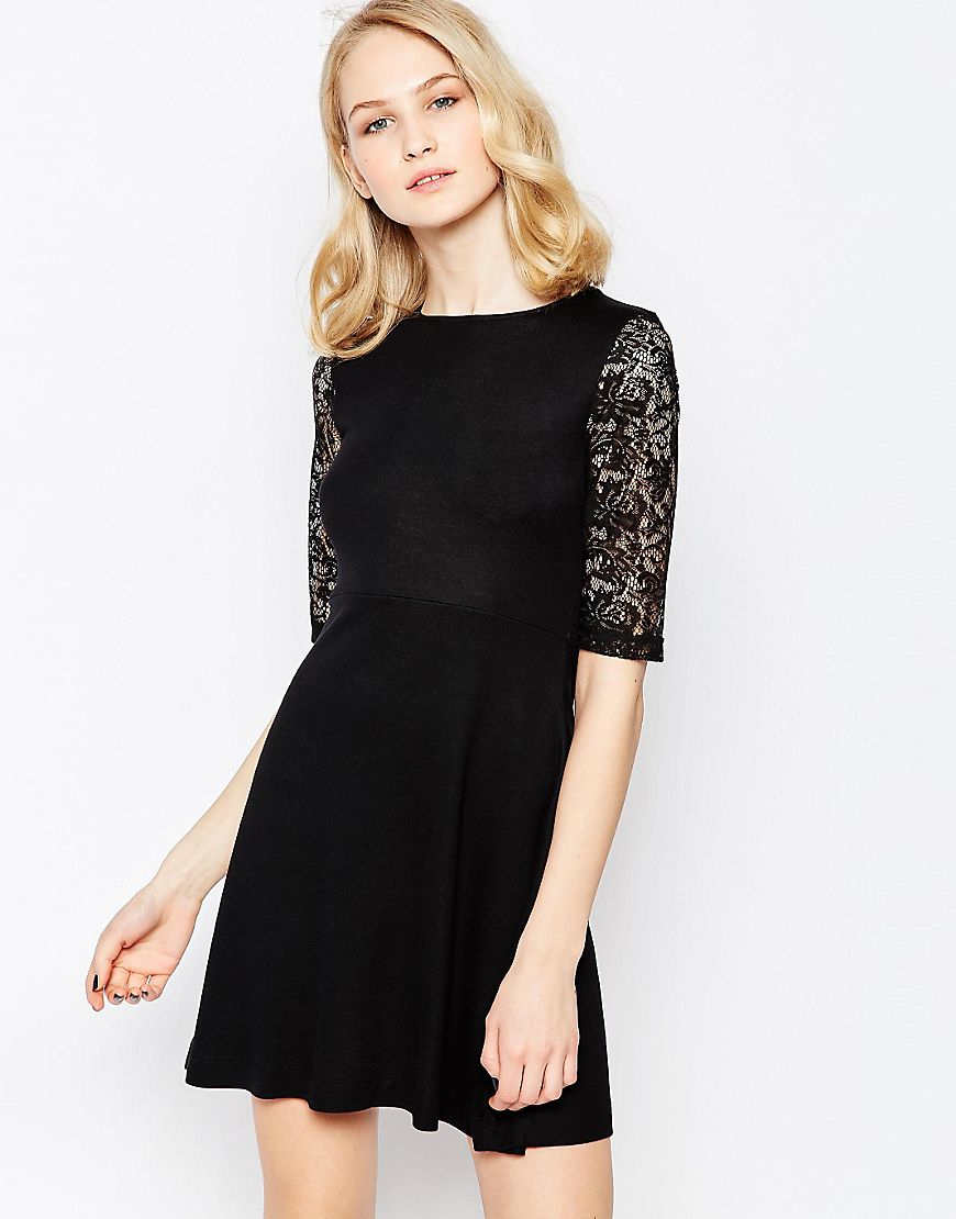 French Connection Leah Lace Tea Dress In Black Lyst