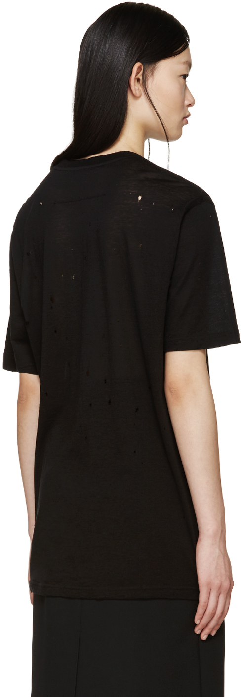 Givenchy black distressed logo t shirt in black lyst for How to make a distressed shirt