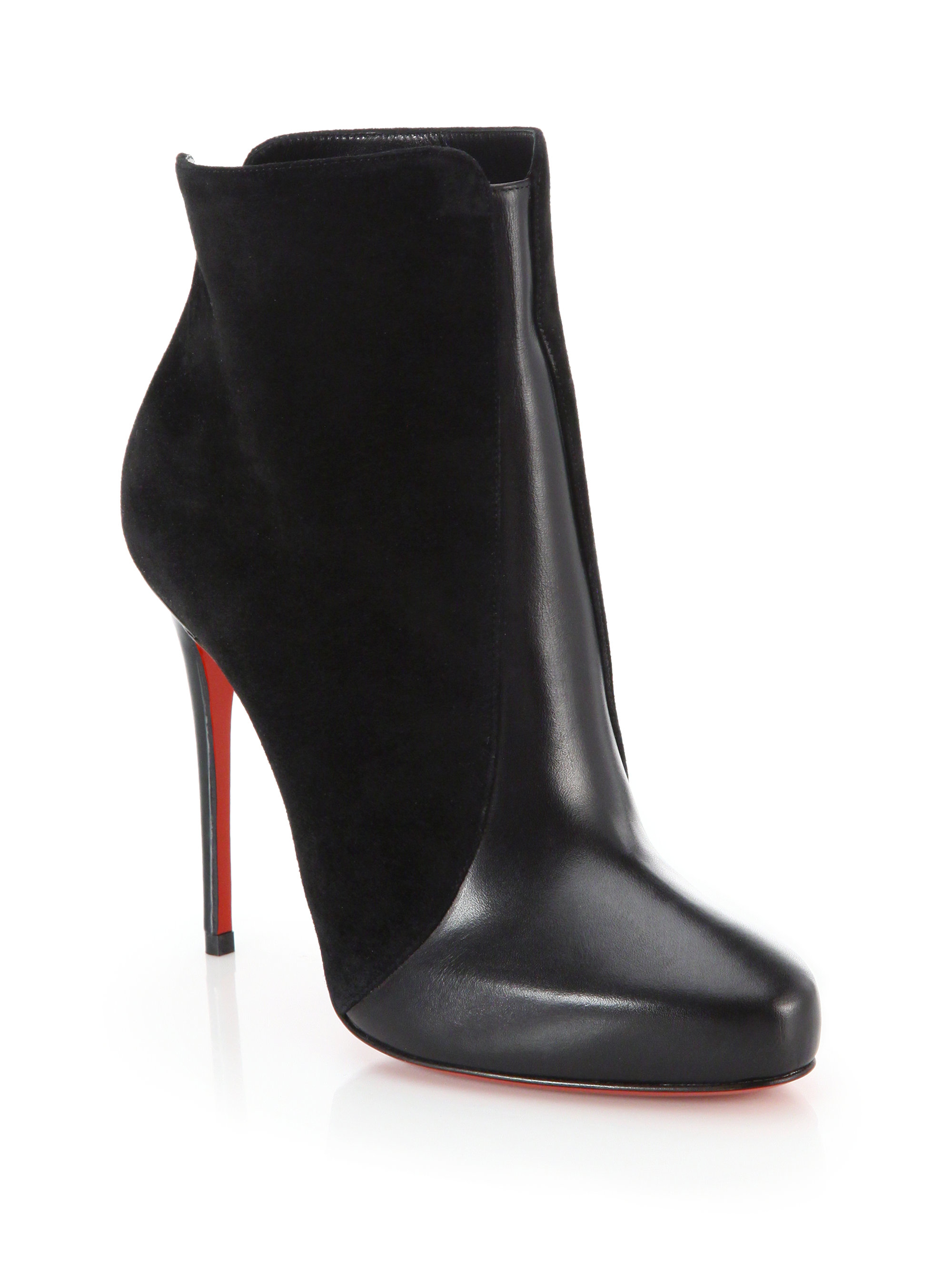 louboutin shoe prices - Christian louboutin Geatanina Suede and Leather Ankle Boots in ...