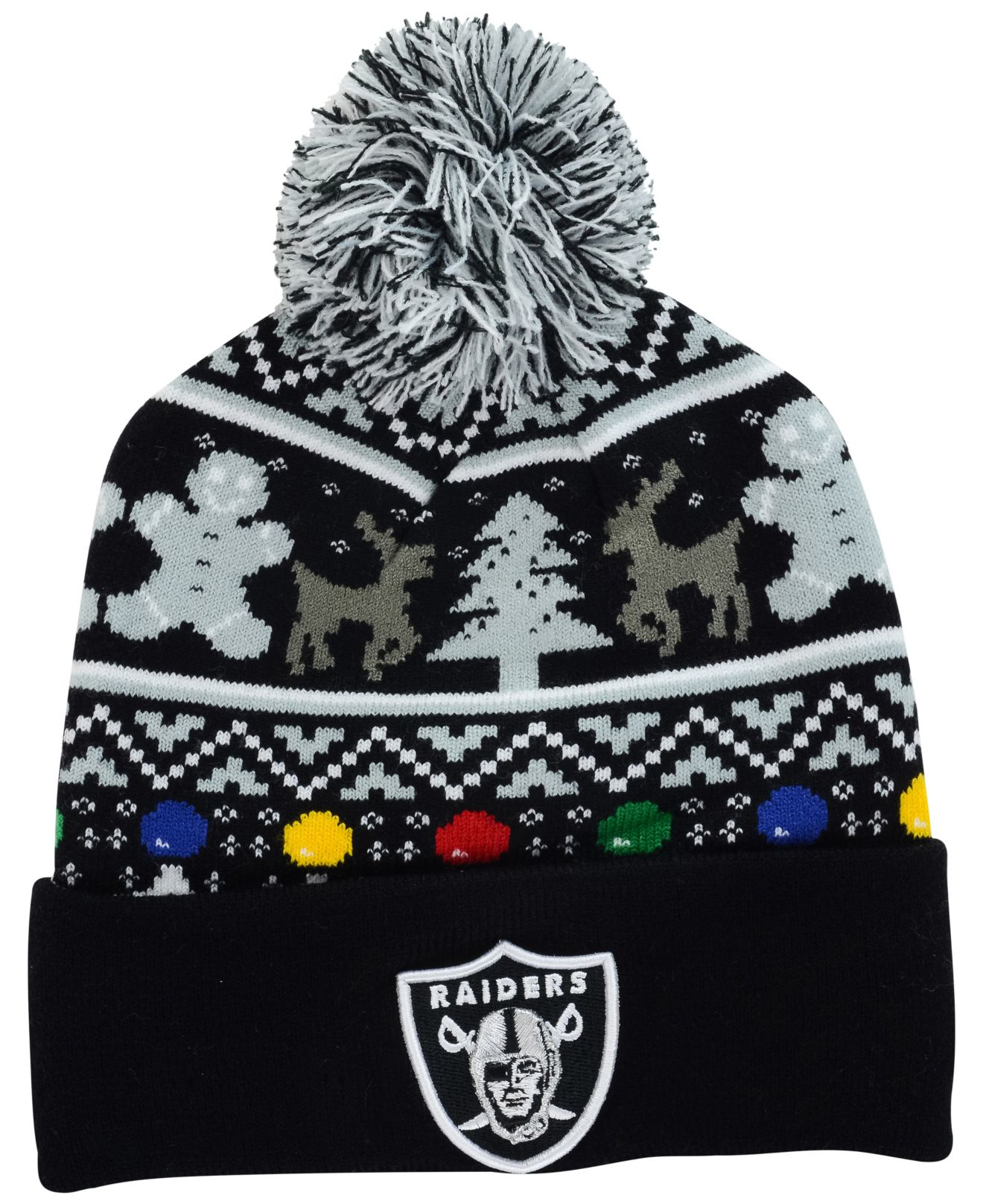 Lyst - Ktz Oakland Raiders Christmas Sweater Pom Knit Hat in Black ...