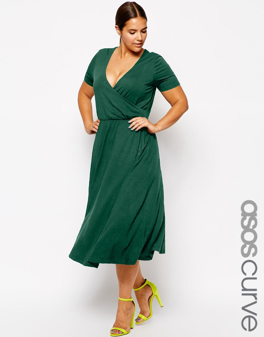 c61a2986ecdb Lyst - ASOS Midi Skater Dress With Wrap Front in Green