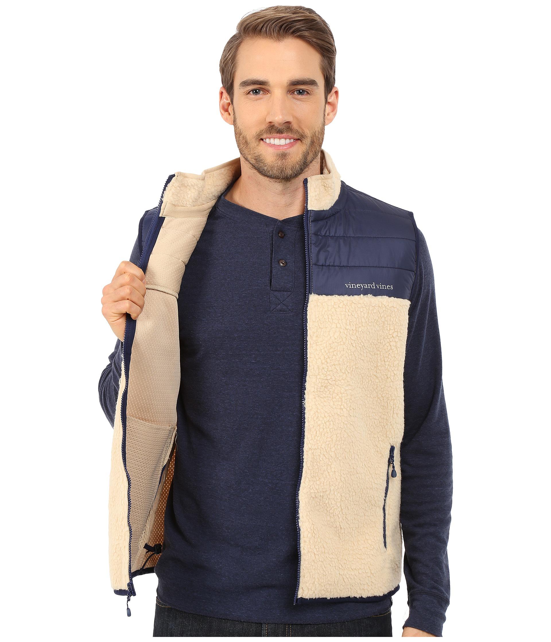 Vineyard vines Sherpa Full Zip Vest in Blue for Men   Lyst