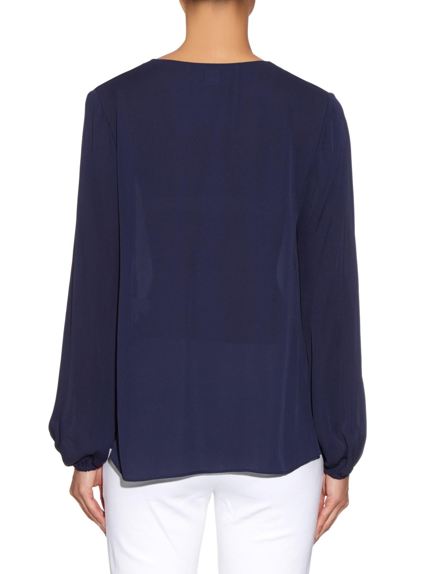 Lyst diane von furstenberg arlenis shirt in blue for Diane von furstenberg shirt