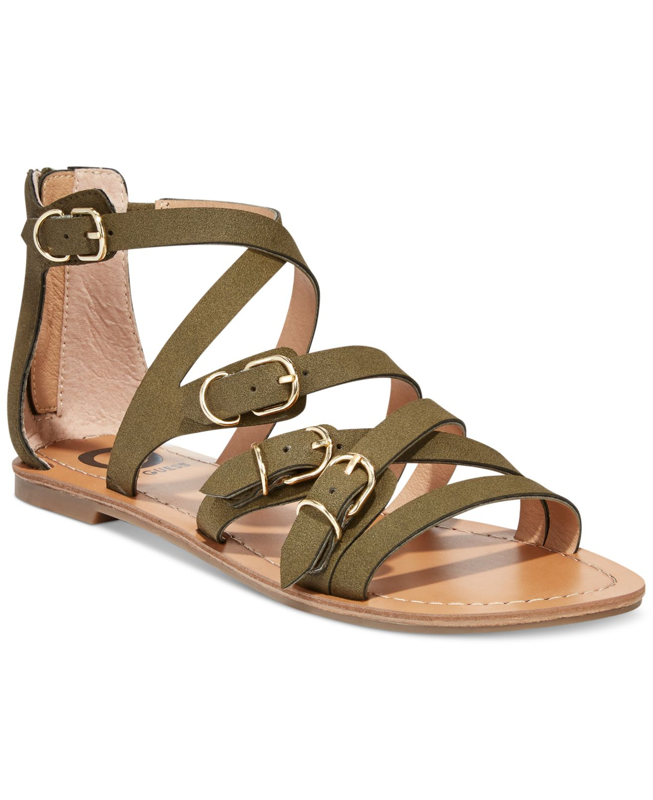dafd50118a71 Lyst - G by Guess Women S Harris Strappy Flat Sandals in Natural