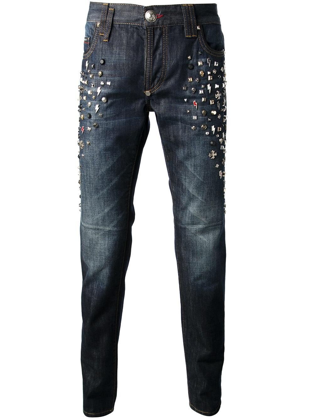 philipp plein studded jeans in blue for men lyst. Black Bedroom Furniture Sets. Home Design Ideas