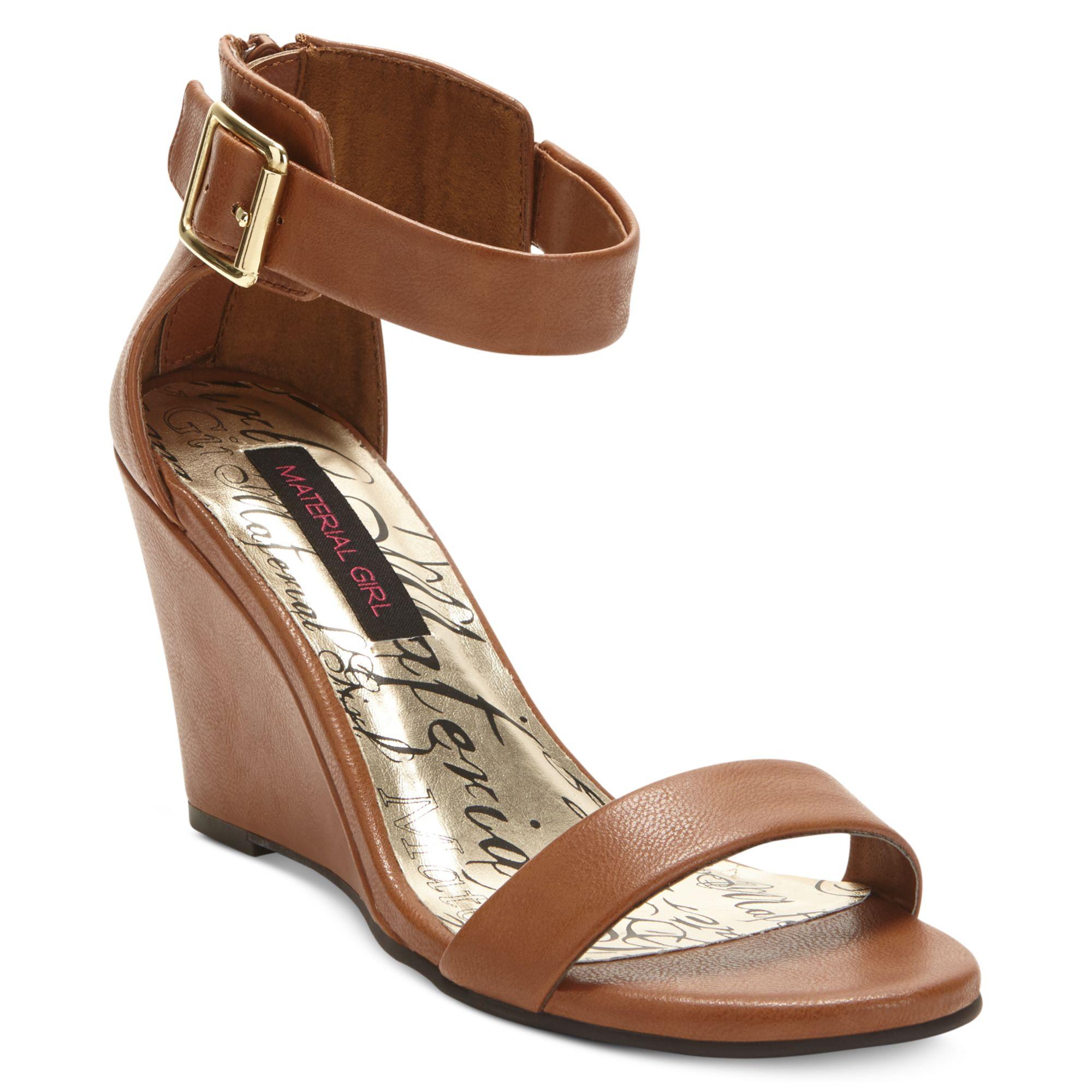 material wedge dress sandals in brown cognac