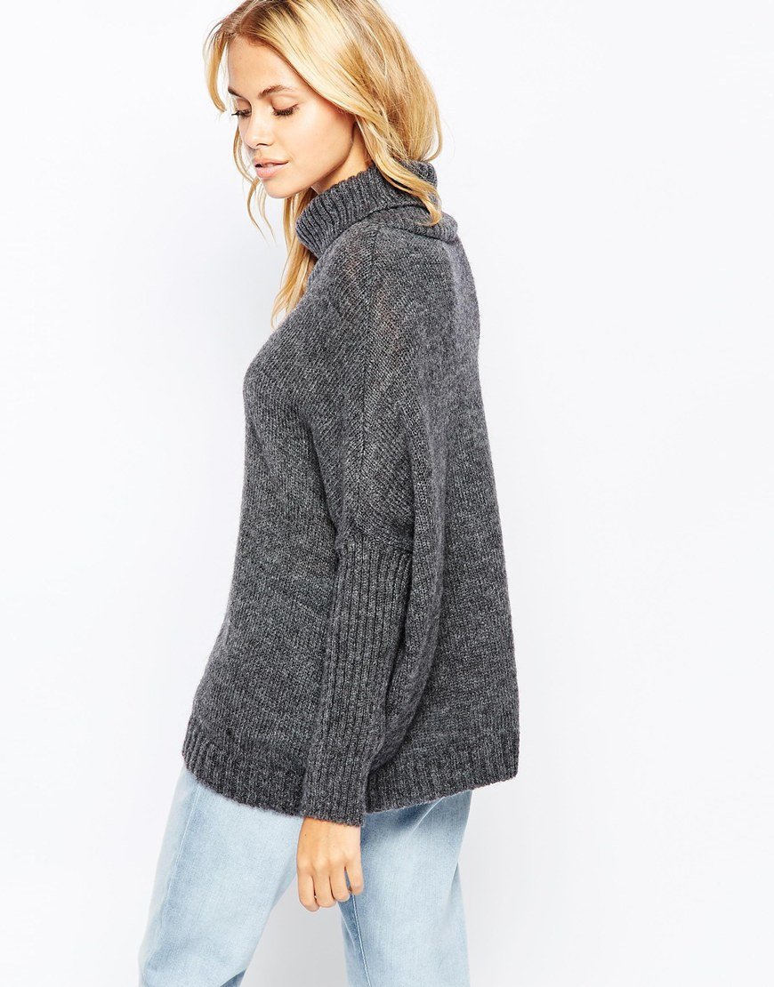Vila Roll Neck Chunky Knit Sweater in Gray | Lyst