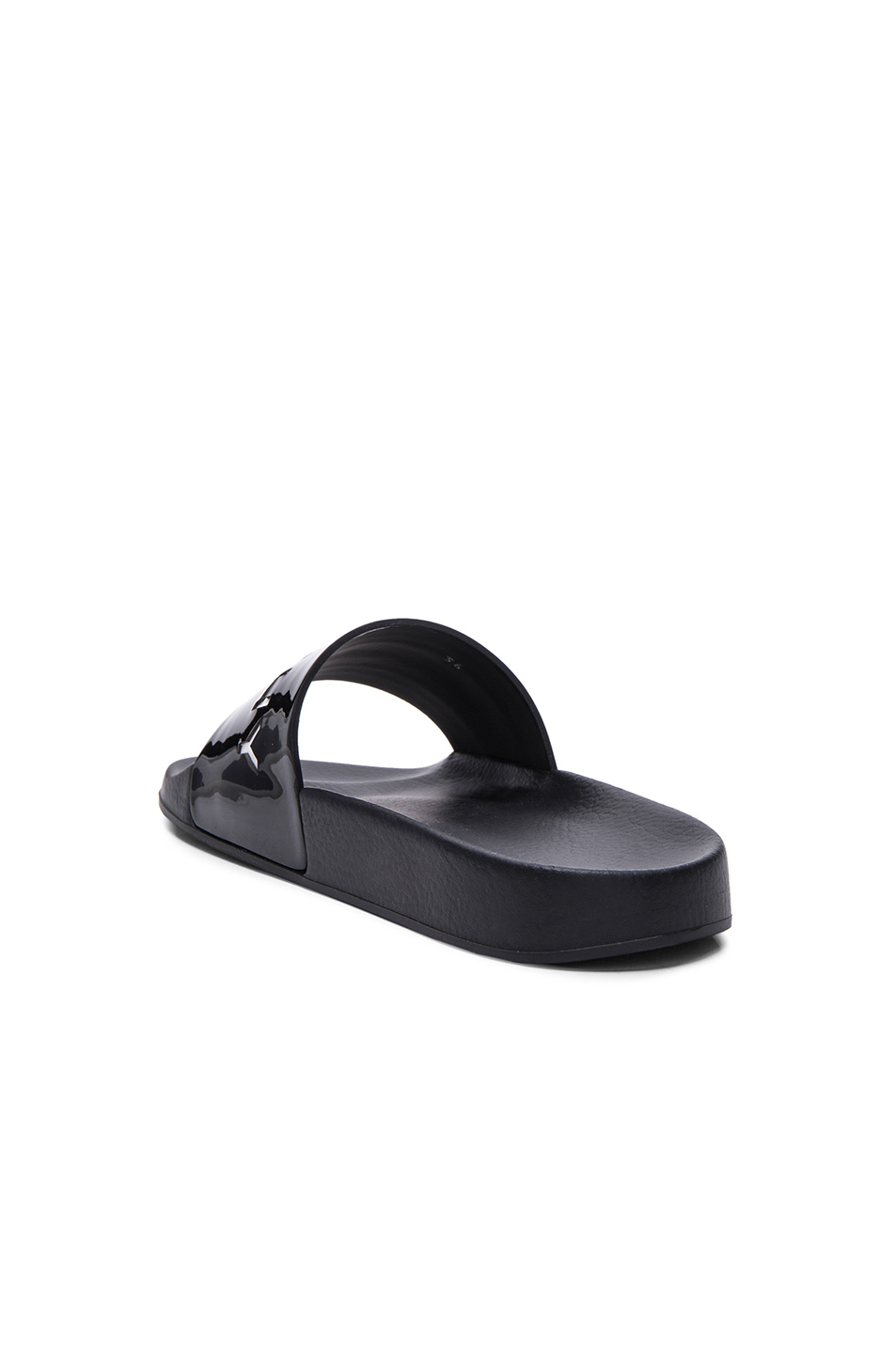 a5a2df2bb0ad Lyst - Givenchy Logo Patent-Leather Slides in Black
