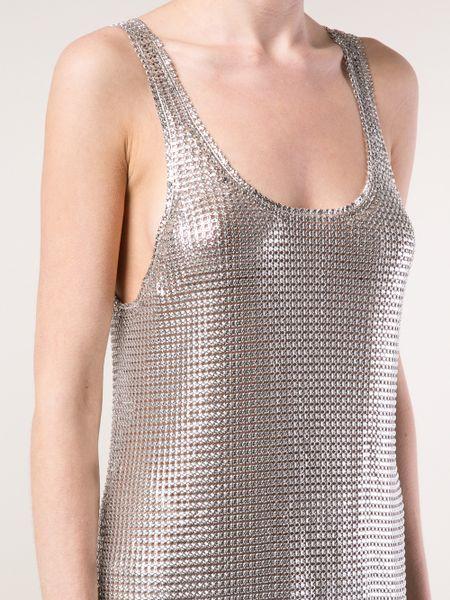 Silver Metallic Dress Mesh Dress in Silver