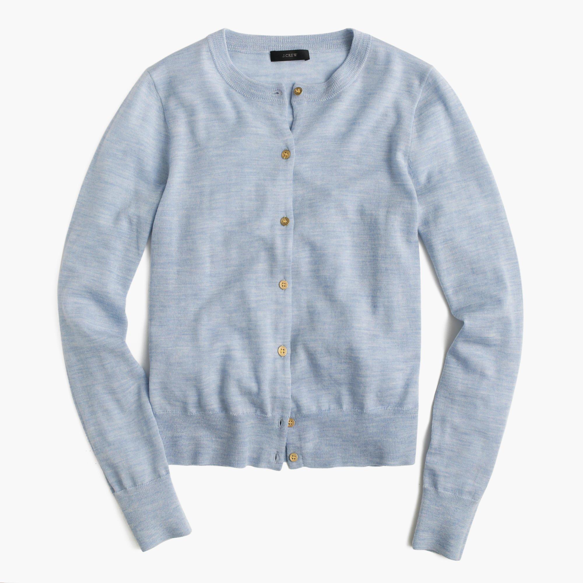 5581d04d69 Lyst - J.Crew Lightweight Wool Jackie Cardigan Sweater in Blue