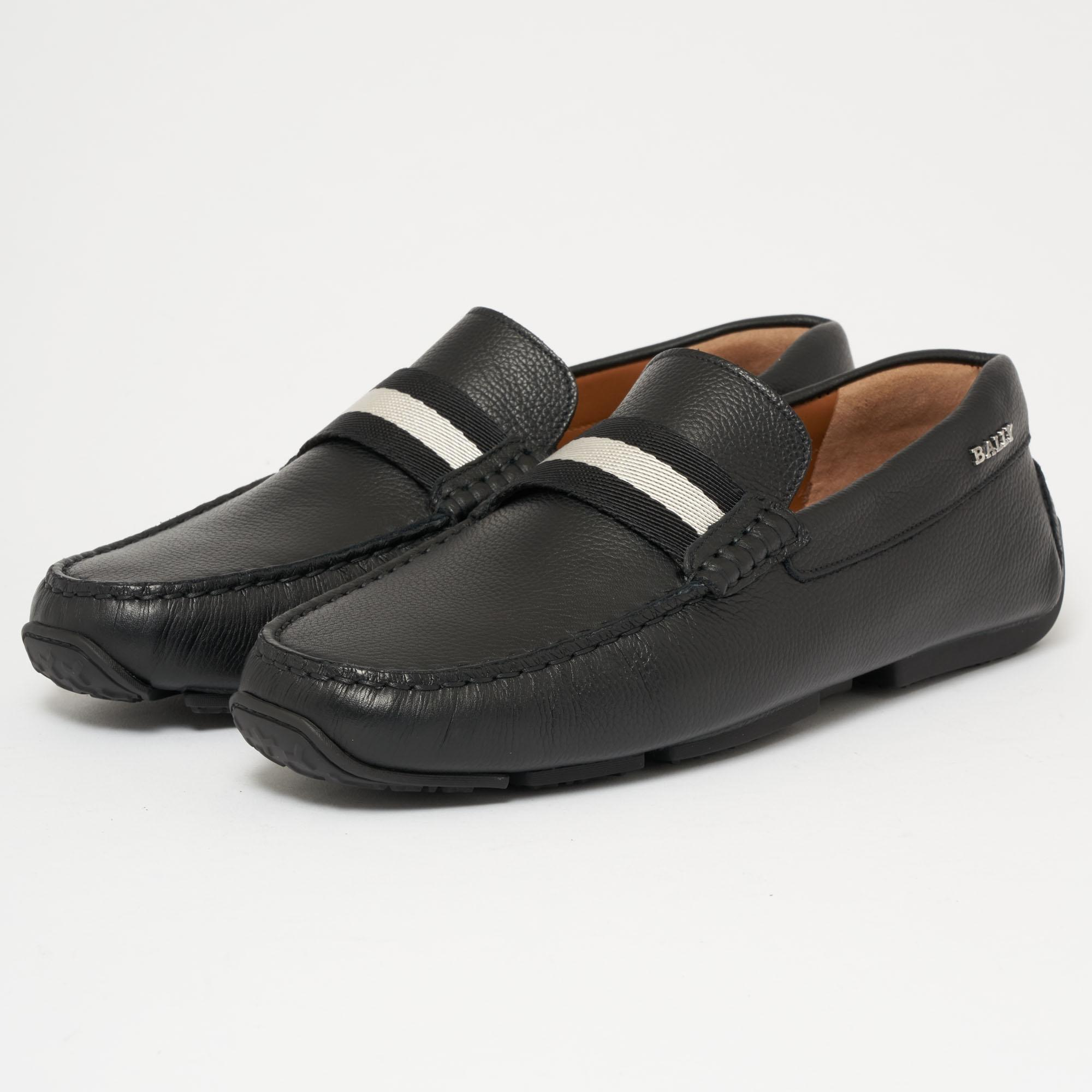 Pearce Black, Mens leather driver in black Bally