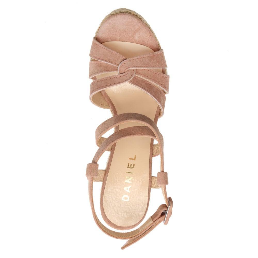 6796ea5f35606 Lyst - Daniel Atosita Pink Suede Jute Wedge Sandals in Pink