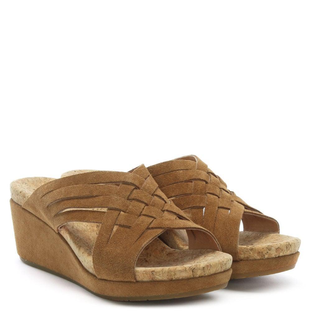 a2d2cd6c10 Ugg - Brown Lilah Chestnut Suede Criss Cross Wedge Sandals - Lyst. View  fullscreen