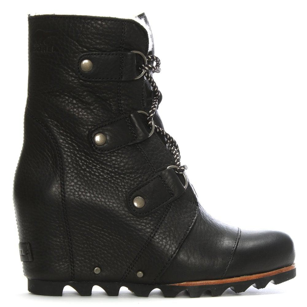 Sorel Joan Of Arctic Black Leather Wedge Boots In Black Lyst