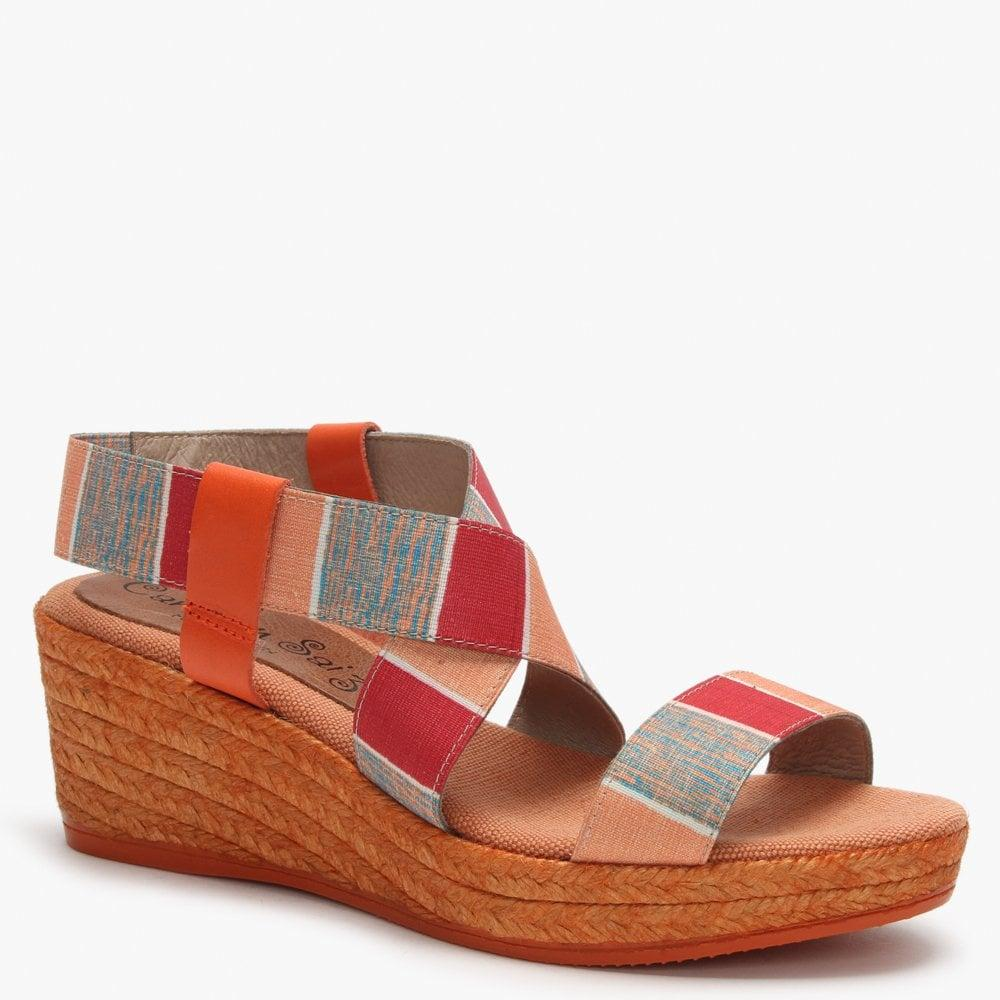 3cd7a7a716a Daniel Footwear Orange Multicoloured Cross Strap Espadrille Wedge ...