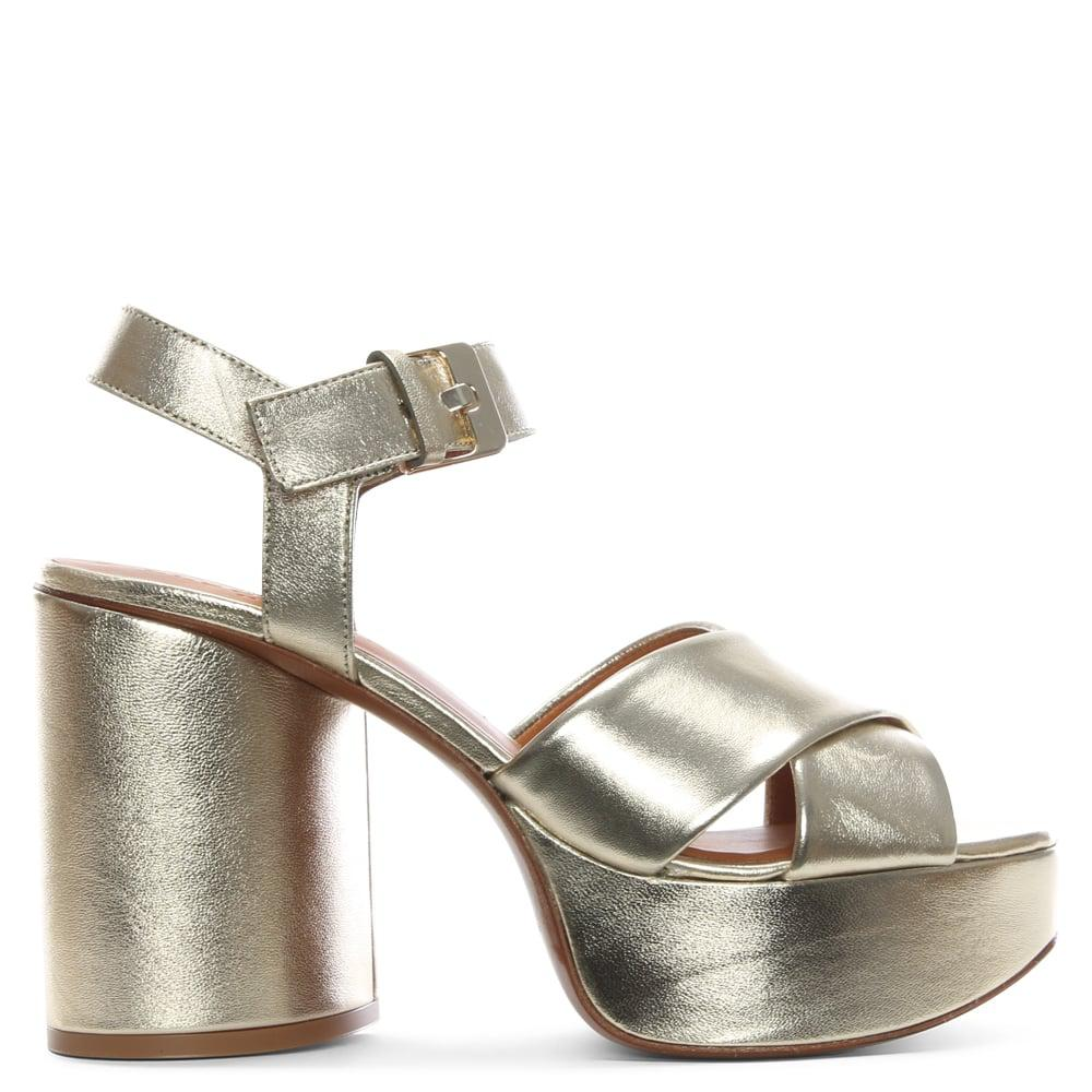 92c85509faee Robert Clergerie Vianne Gold Metallic Chunky Platform Sandals in ...