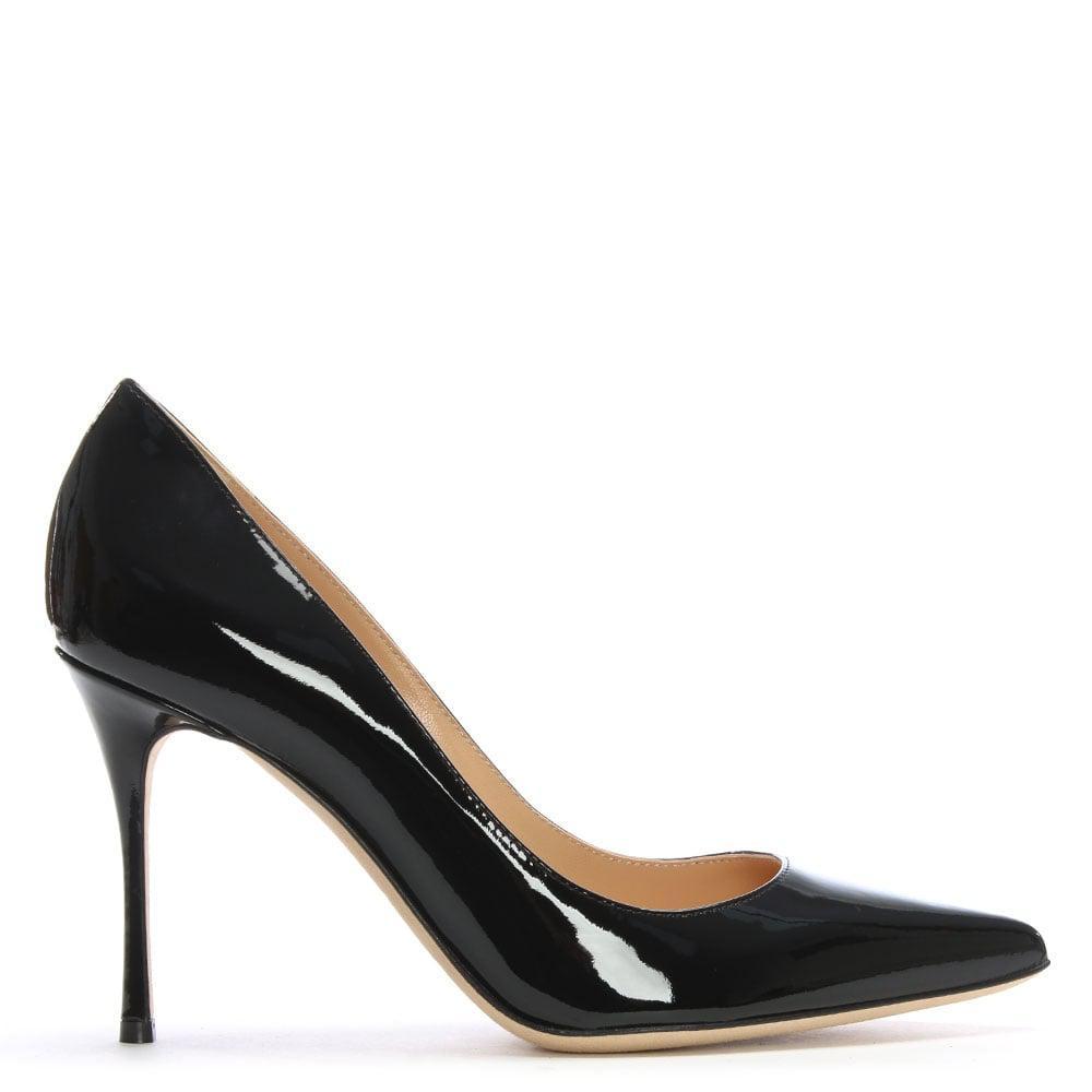sergio godiva black patent leather high heel court