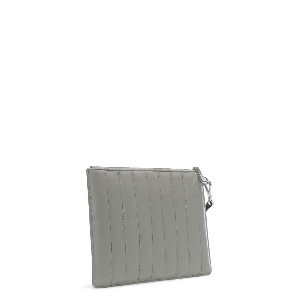 87ad369bd0bb Michael Kors - Gray Flat Quilted Pearl Grey Leather Clutch Bag - Lyst. View  fullscreen