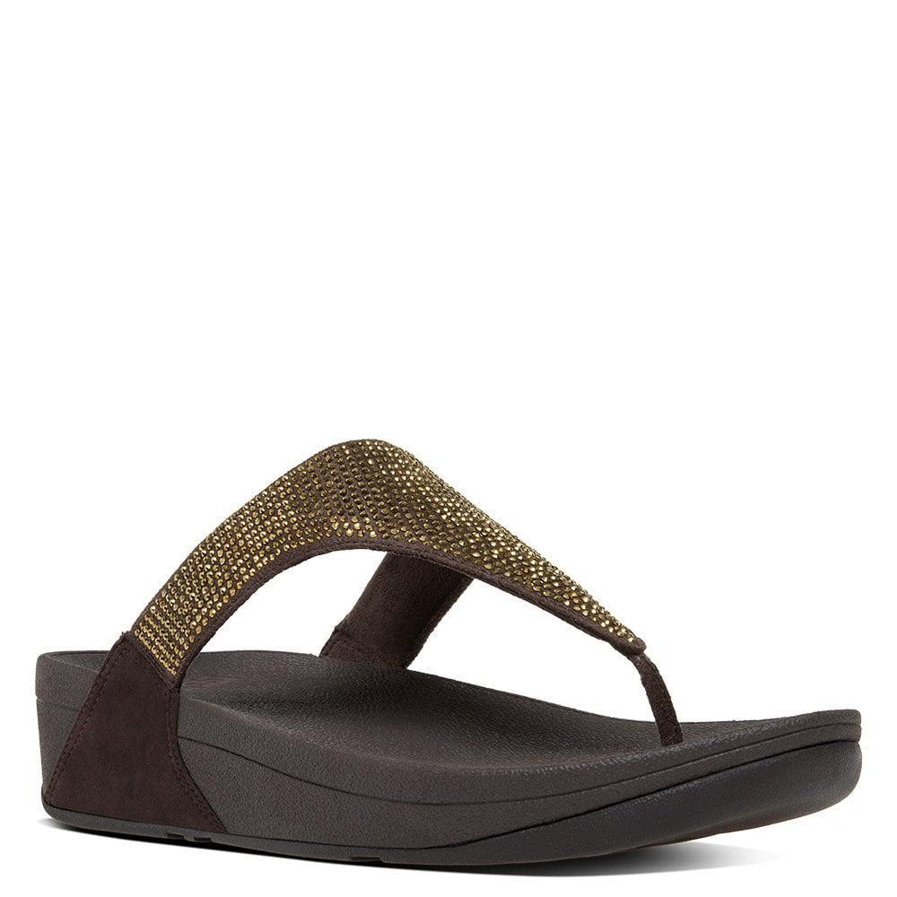 2f5f8dc6e6362 Lyst - Fitflop Slinky Rokkit Bronze Jewelled Toe Post Sandals in Brown