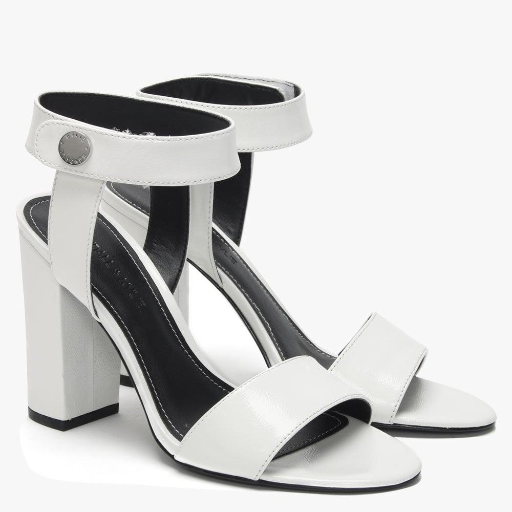 dc1dc931d32f Kendall + Kylie - Rowan White Patent Leather Block Heel Sandals - Lyst.  View fullscreen