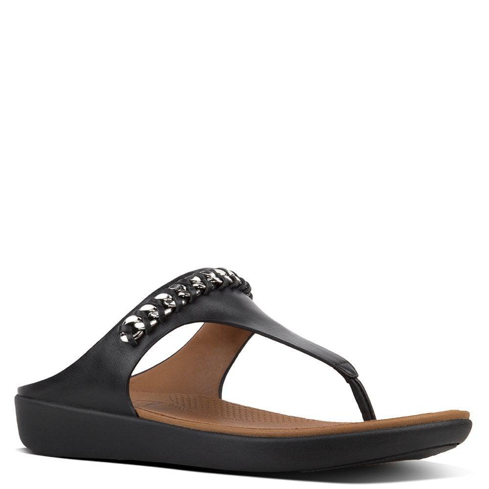 c07b27cd055fdc Fitflop - Banda Chain Black Leather Toe Post Sandals - Lyst. View fullscreen