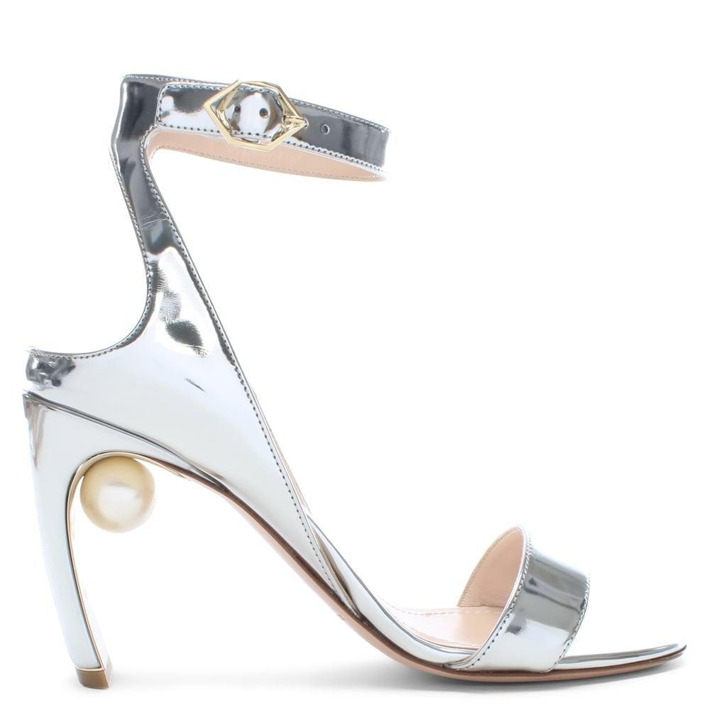 46f20c6276d Nicholas Kirkwood. Women s Metallic Lola 90 Pearl Grey Silver Ankle Strap  Sandals